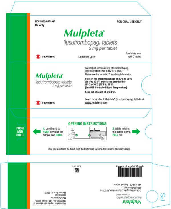 MULPLETA (lusutrombopag tablets) for oral use