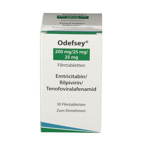 ODEFSEY® (emtricitabine, rilpivirine, and tenofovir alafenamide) tablets, for oral use.